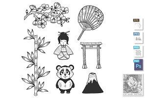 Japan cultural symbols icons
