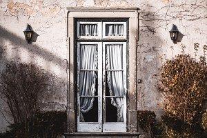 Antique porch with transparent door