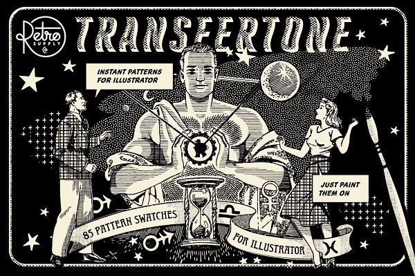 Photoshop Brushes: RetroSupply Co. - TransferTone | Illustrator Swatches