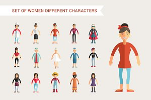 Set of Women Different Characters