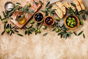 Italian food with Olives and Oil