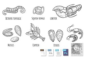 Seafood icons set