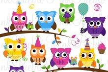 Birthday Party Owl Clipart & Vectors