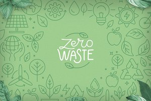 Zero waste - icons and illustrations