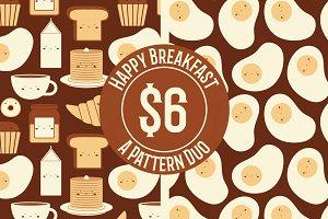 Happy Breakfast Seamless Pattern