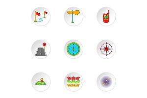 Location icons set, cartoon style