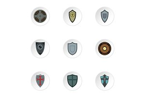 Army shield icons set, flat style