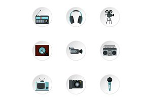 Electronic devices icons set, flat