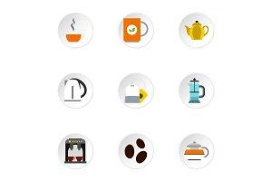 Tea icons set, flat style