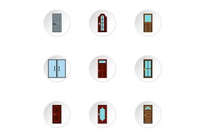 Security doors icons set, flat style