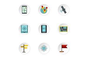GPS map icons set, flat style