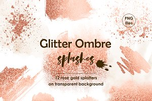 Rose gold ombre paint splatters