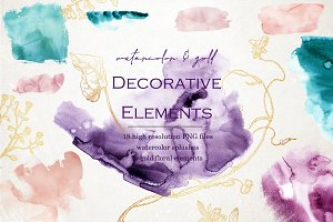 Watercolor splashes & gold floral