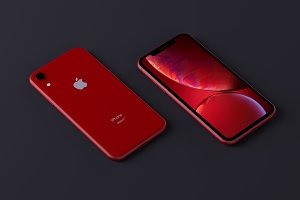 Red iPhonx Xr Mockup