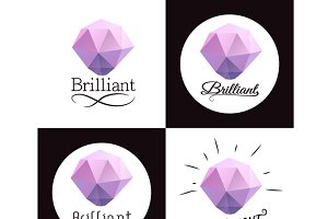 Set of logos with diamond