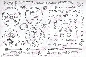 Doodle wedding decor.Mini set_01