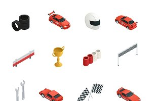 Car race isometric icons set