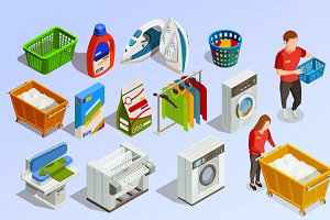 Laundry isometric dry-cleaning set