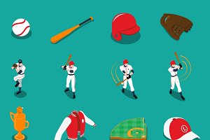 Baseball set of isometric icons