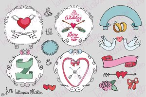 Doodle wedding decor mini set_02
