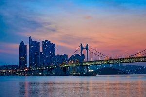 Gwangan Bridge on sunrise. Busan