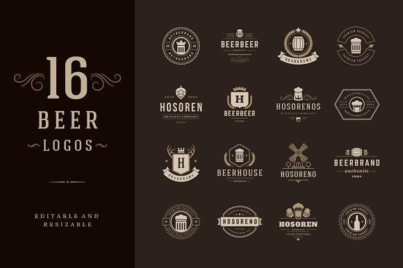16 Beer Logotypes and Badges