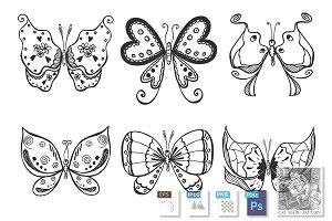 butterflies set in doodle style