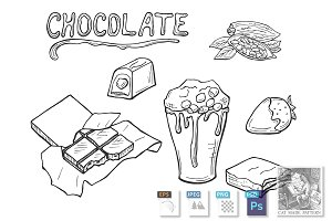 chocolate in sketch doodle style
