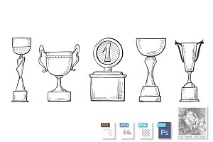 winners championship cups set