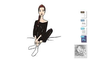 fashion girl sitting