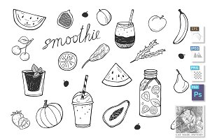 smoothie cocktails detox icons set