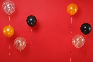 Colorful black golden helium air bal