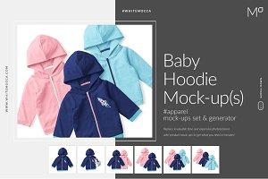 Baby Hoodie Mock-ups Set & Generator