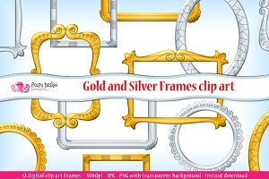 Gold and Silver frames clipart