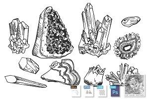 Mineral crystals and gem stones set