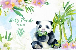 Watercolor baby panda clipart