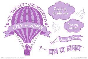 Hot air balloon wedding, vector