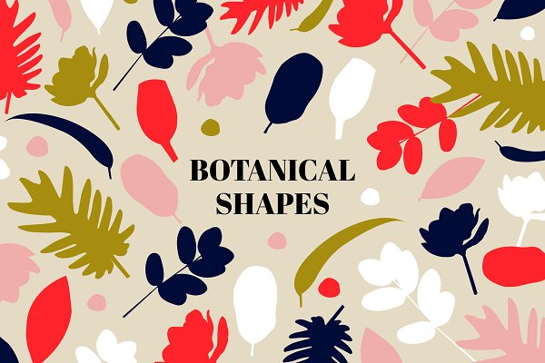 Graphic Patterns - Botanical Shapes Vector Pattern Set