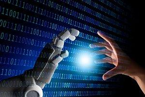 Human hand and robot hand with binar