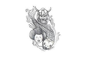 Viking Carp Geisha Head Tattoo