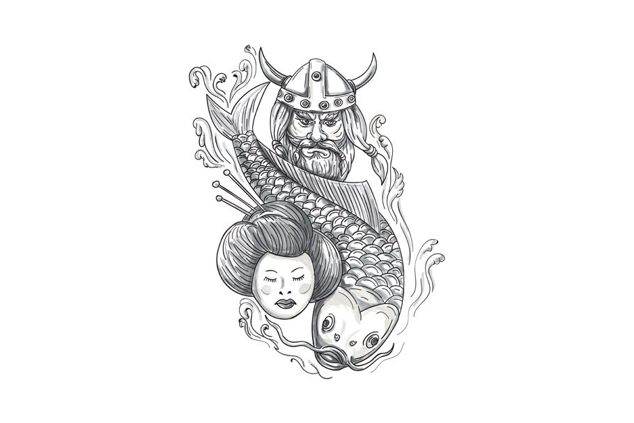 81b3b1986c3b7 Viking Carp Geisha Head Tattoo ~ Illustrations ~ Creative Market
