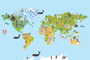 World map with landmarks and animals