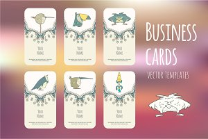 Set of Business cards with birds