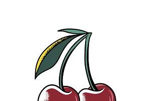 Cherries comic style vector