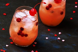 Festive pink cold alcoholic cocktail
