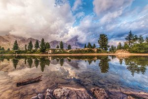 Reflections in the mountain lake