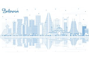 Outline Bahrain City Skyline