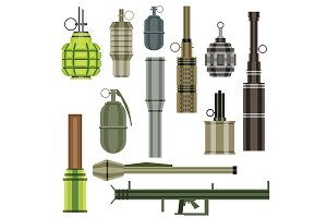 Grenade Set. Military Weapon.