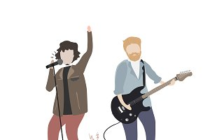 illustration of people in a band