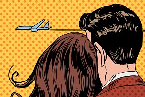 A couple in love and the plane